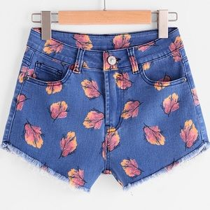 ⚡️🇺🇸🆕High waisted autumn leaf jean shorts